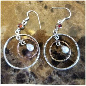 "Jewelry - Two tone, Double hoop French Pearl Earrings 2"""